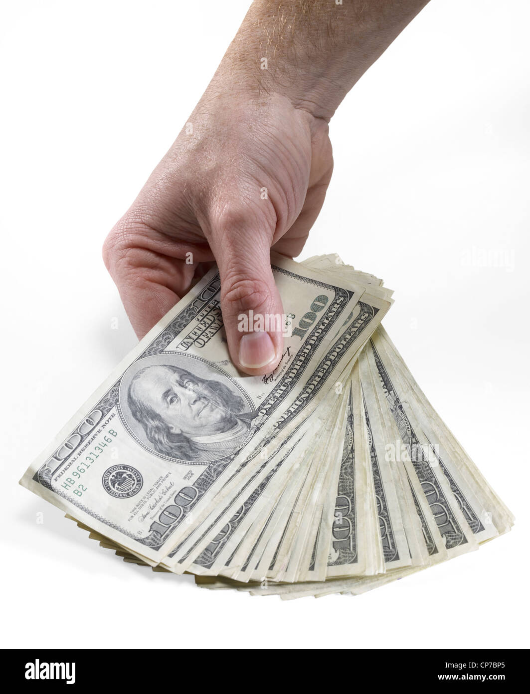 Hand Holding American One Hundred Dollar Bills - Stock Image