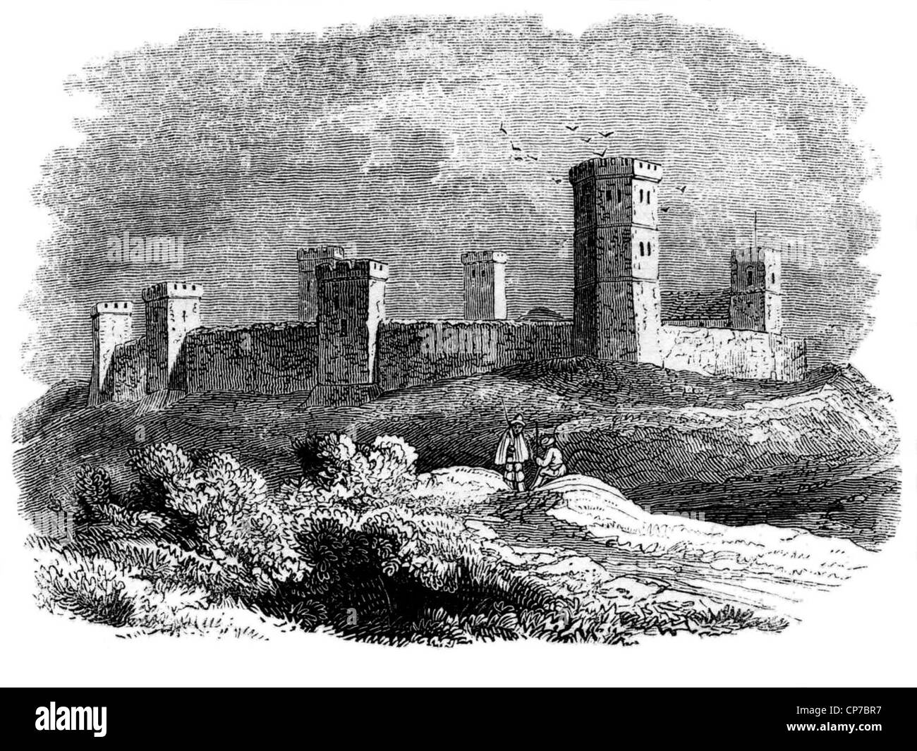 Engraving of Oxford castle pictured in 15th century, Oxfordshire, England. - Stock Image