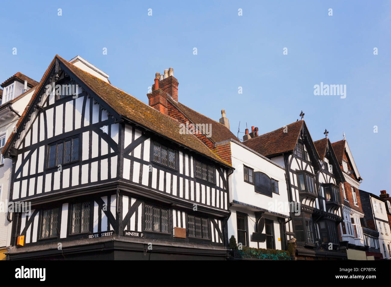 Old half timbered buildings on the corner of Silver Street and Minster Street in the city of Salisbury, Wiltshire, - Stock Image