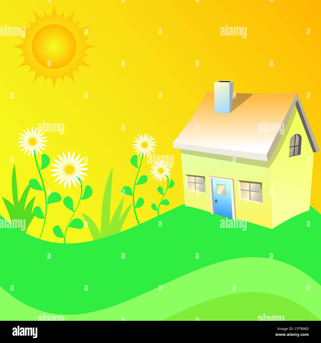 Summer sun with home and flowering garden illustration Stock Photo
