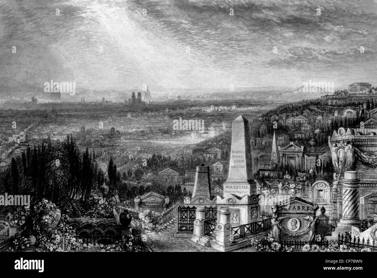 Engraving of Pere Lachaise cemetery in Paris, France. - Stock Image
