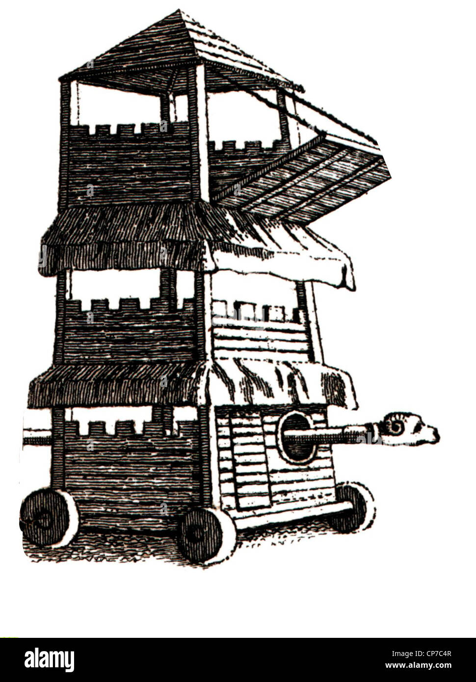 Medieval siege tower or engine with bridge and battering Ram. - Stock Image
