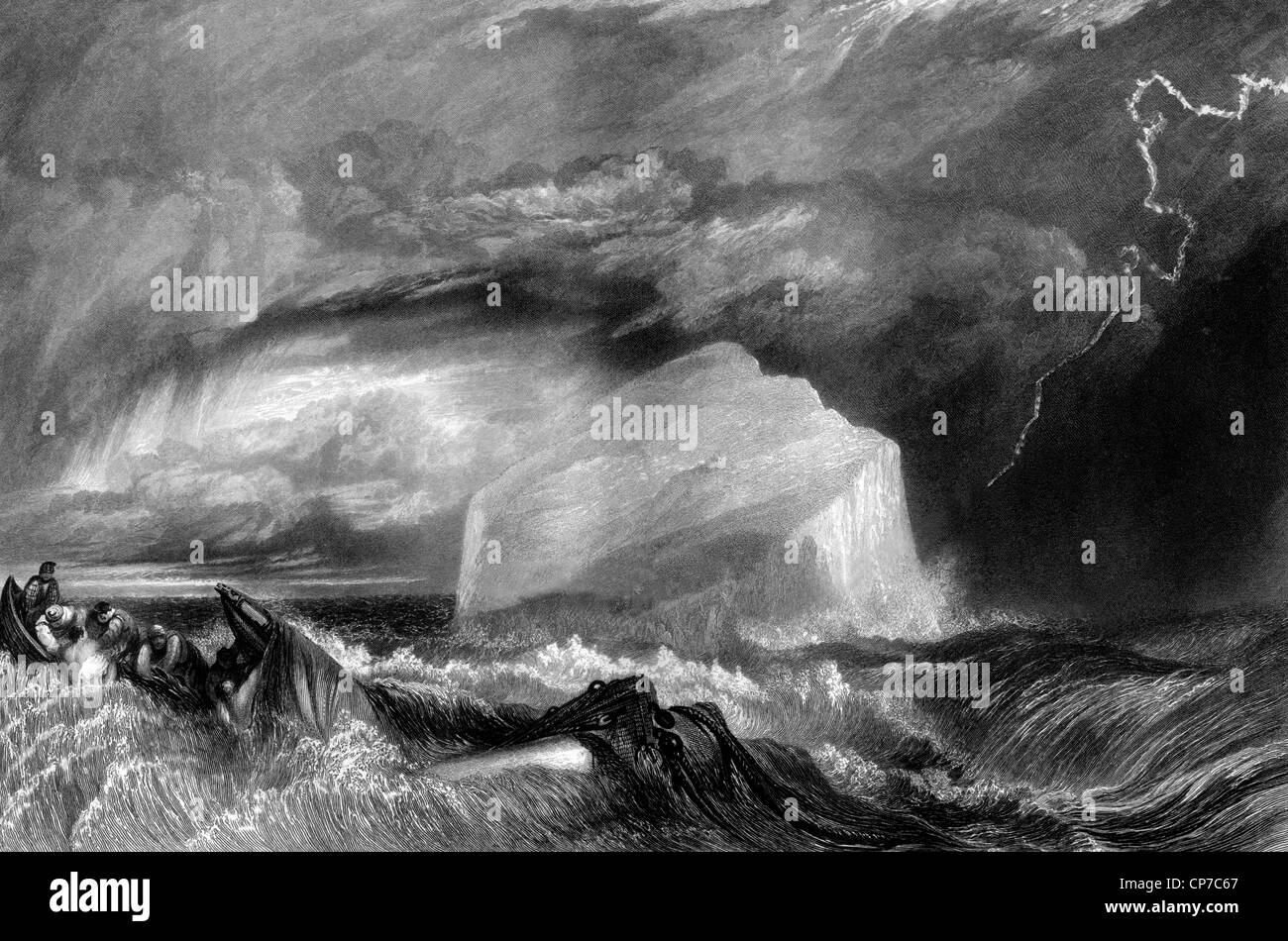 Shipwrecked sailors in stormy sea with lightning, Bass Rock island in background, Firth of Forth, Scotland. - Stock Image