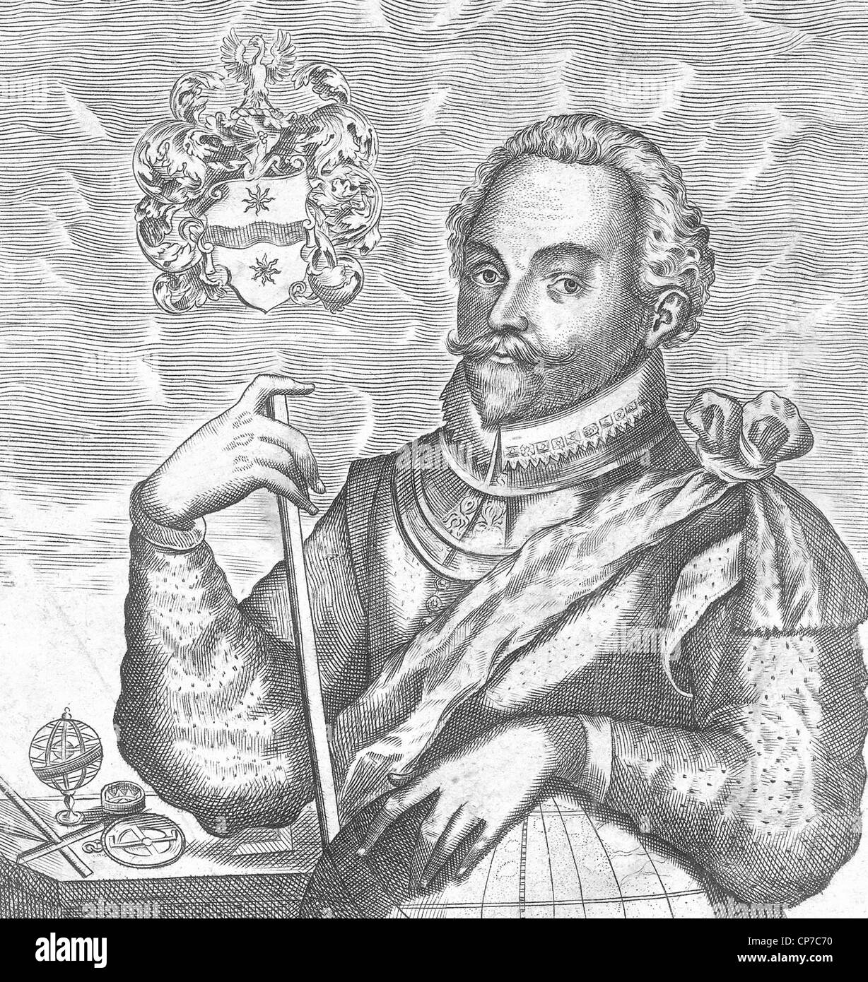 Engraving of Sir Francis Drake. Source, published as frontispiece to his nephew's The World Encompassed. - Stock Image