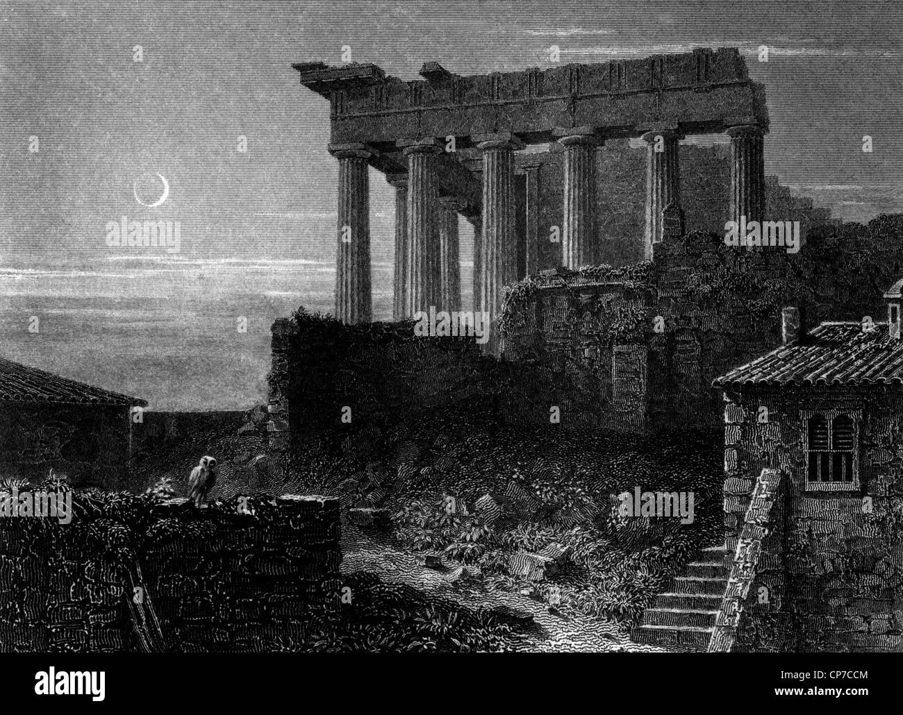 Temple of Athens showing Minerva in Ancient Greece. - Stock Image