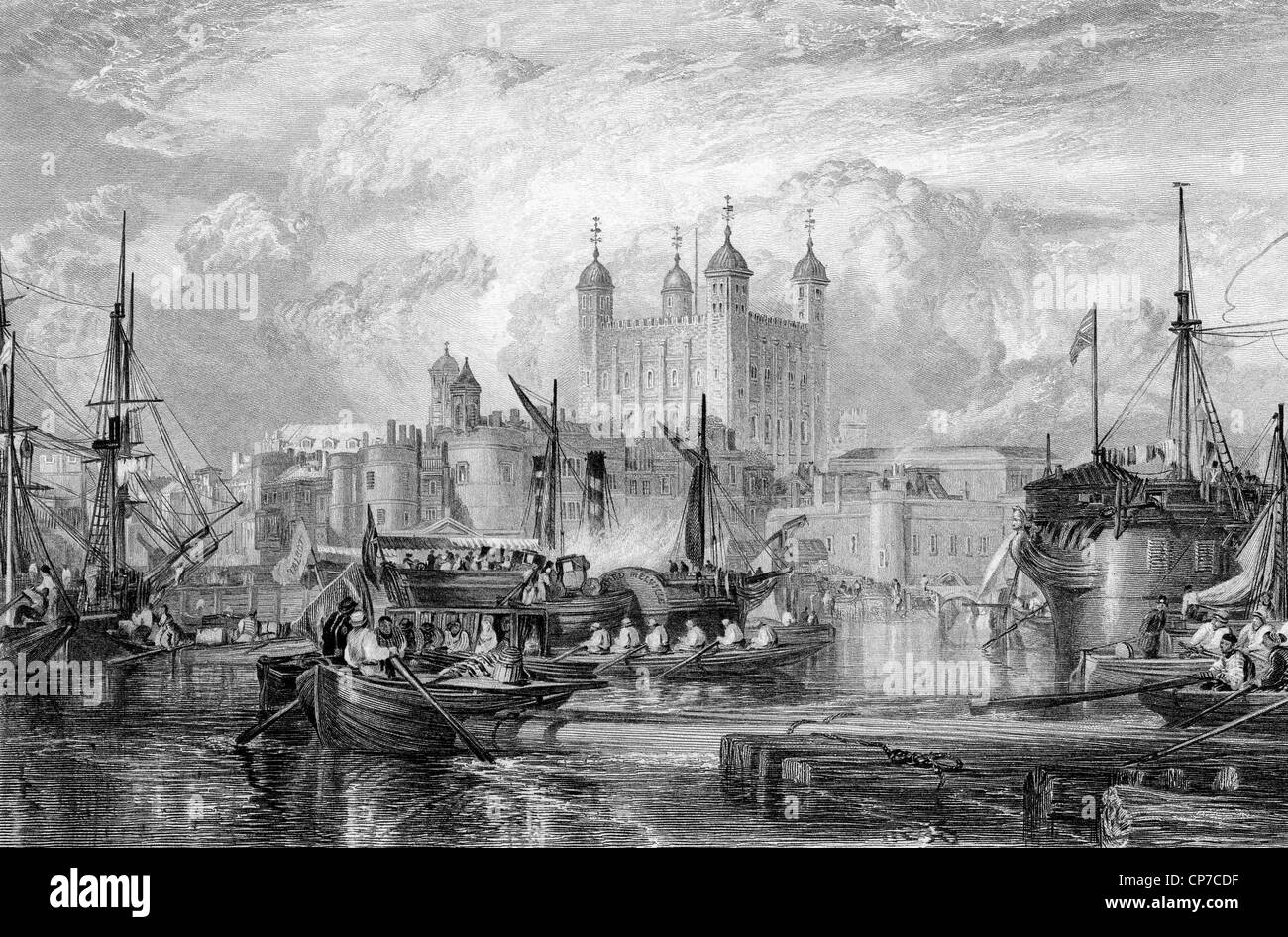 Tower of London with ships in port on River Thames, England, Engraved by William Miller in 1832. - Stock Image