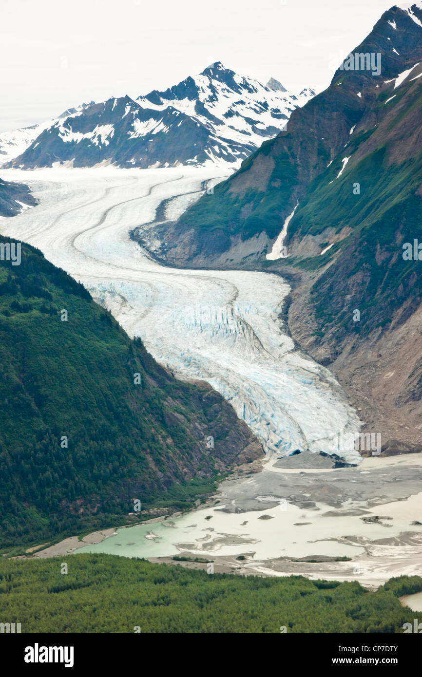 Aerial view of the Davidson glacier off of Lynn Canal,  Chilkat Mountain Range, Southeast Alaska, Summer - Stock Image