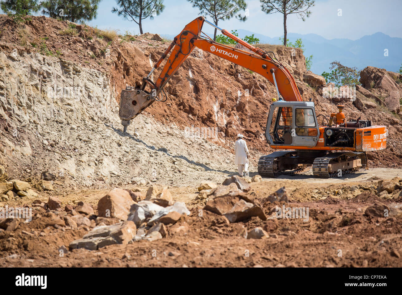 Road construction project in Punajab, Pakistan - Stock Image