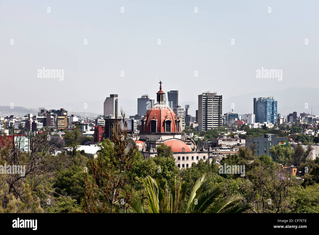 view of Mexico City skyline on spring day looking South from Chapultepec hill over treetops of Chapultepec park - Stock Image