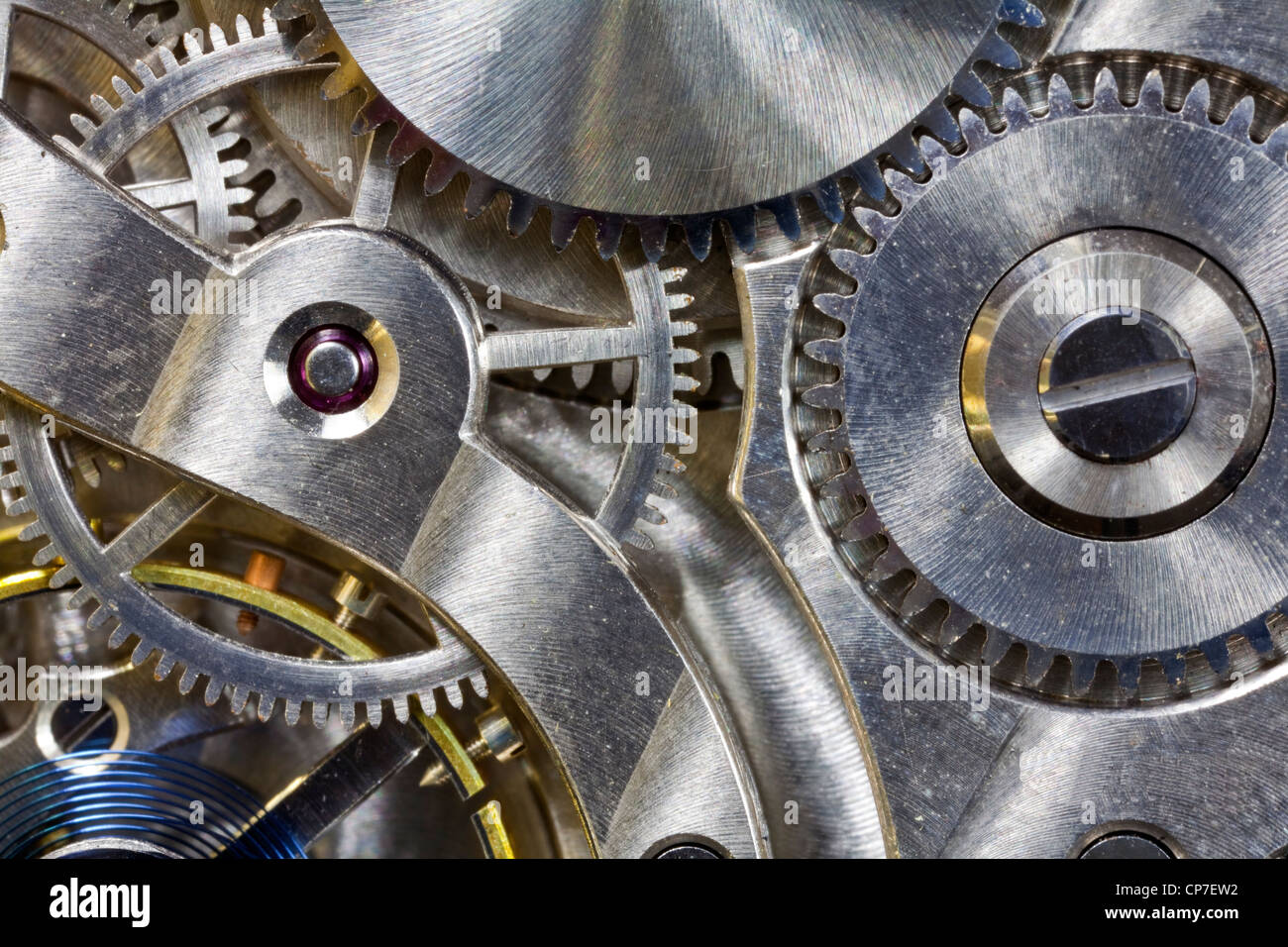 Vintage pocket watch inside gears macro detail. - Stock Image