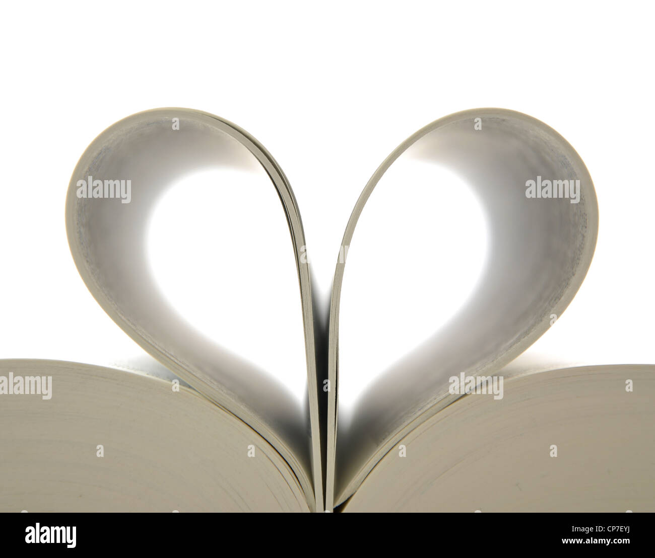 Book with opened pages and shape of heart Stock Photo