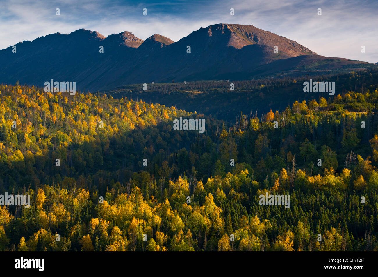 Scenic view of Flattop Peak and Campbell Creek Drainage, Chugach State Park, Southcentral Alaska, Autumn - Stock Image