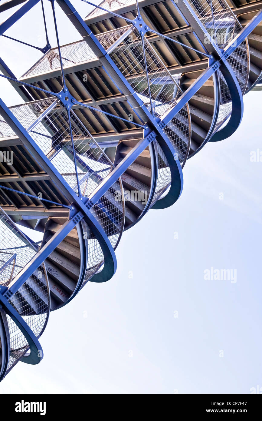The stairs of an observation tower from below - Stock Image