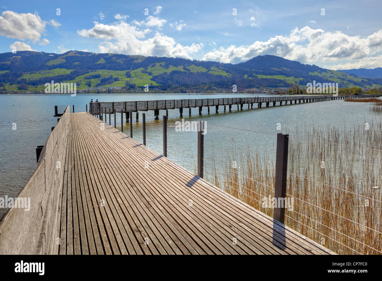 Wooden bridge Rapperswil-Hurden, Upper Lake, St. Gallen, Switzerland - Stock Image