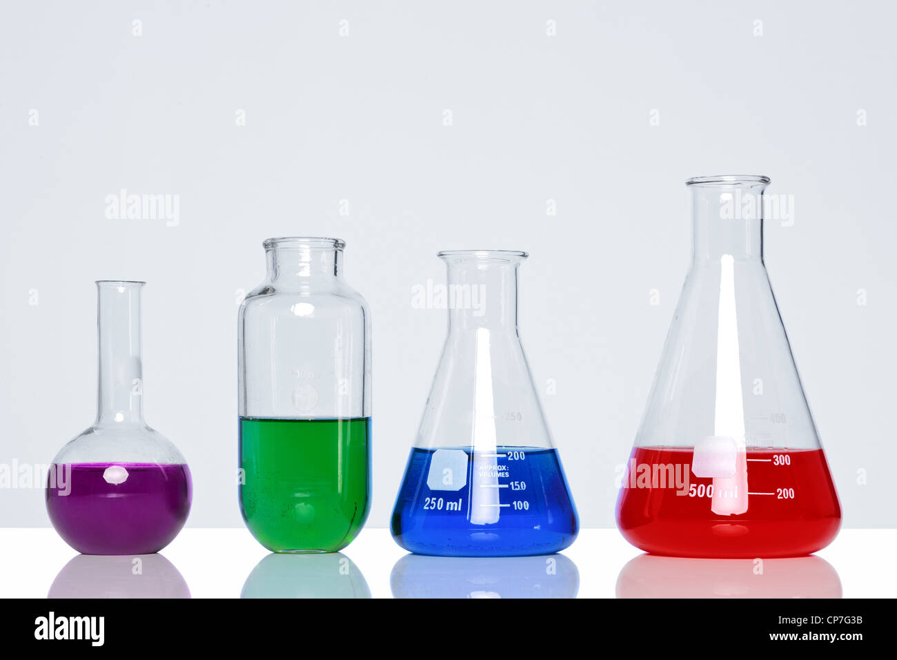 Photo of chemicals in glass flasks and beakers - Stock Image