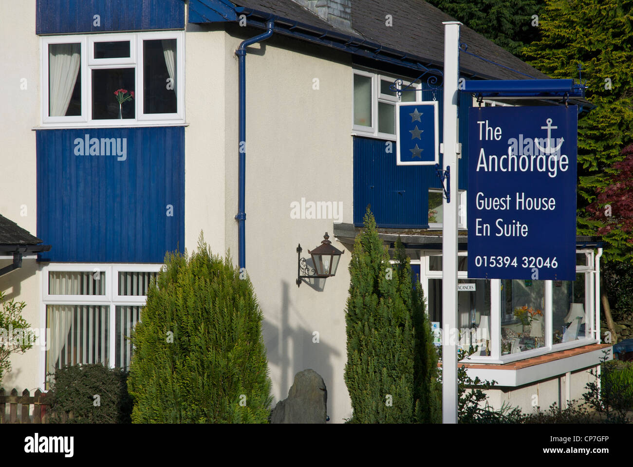 The Anchorage Guest House, in Rydal Road, Ambleside, Lake District, Cumbria, England UK - Stock Image