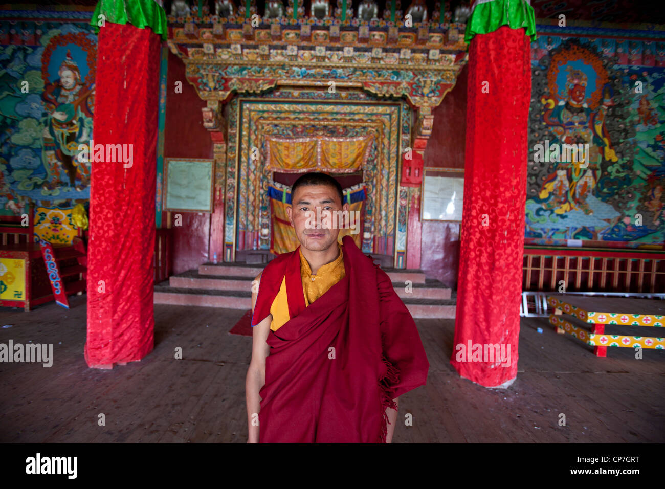 Portrait of monk Litang monastery western China Asia - Stock Image