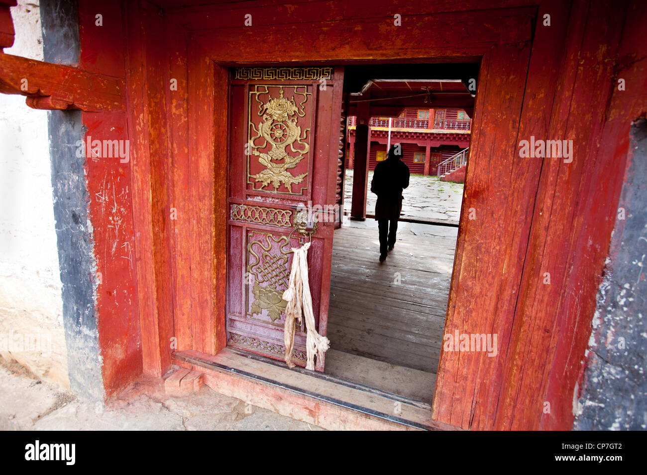 Door of monastery Litang western China Asia - Stock Image
