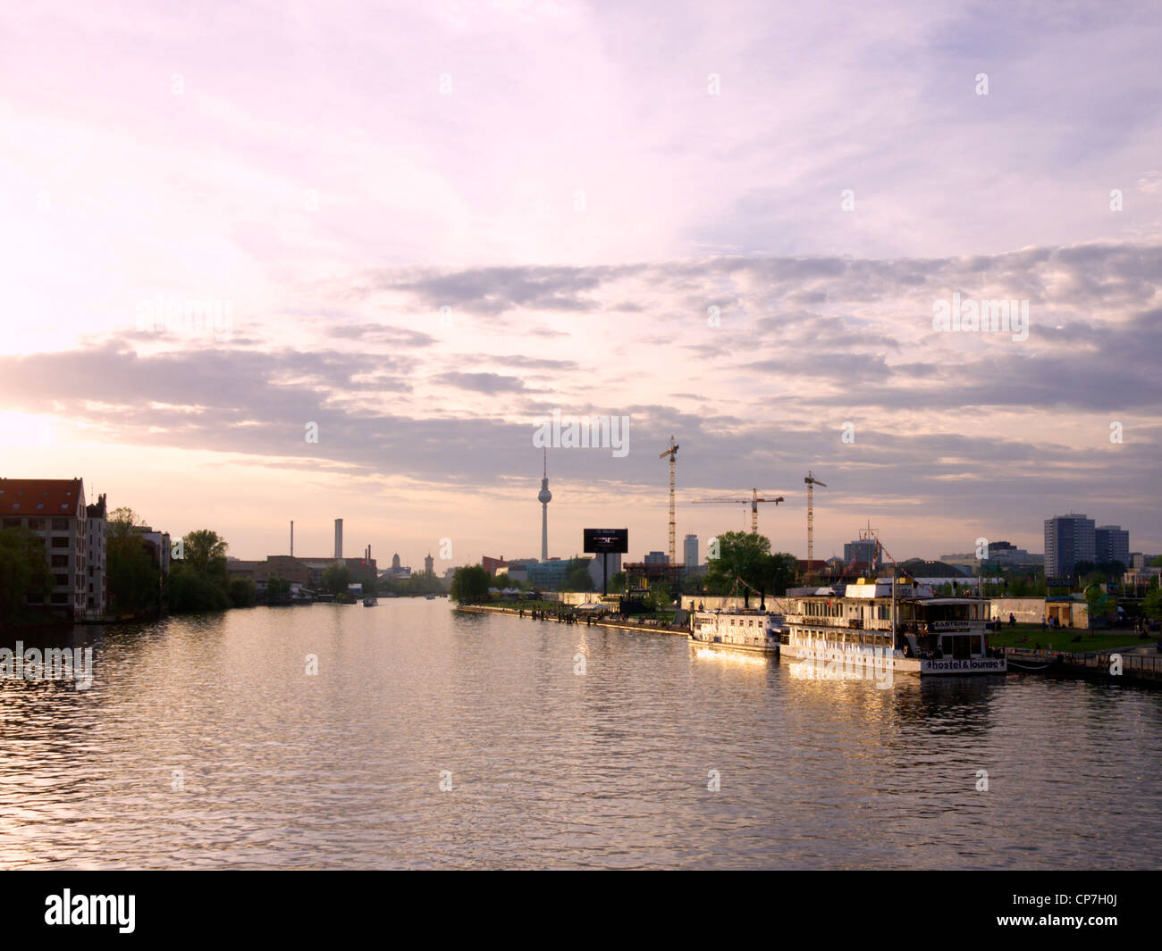 Berlin cityscape at dusk - Stock Image