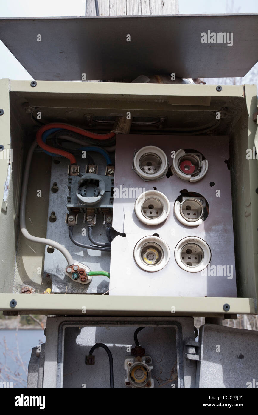 old empty fuse box - Stock Image