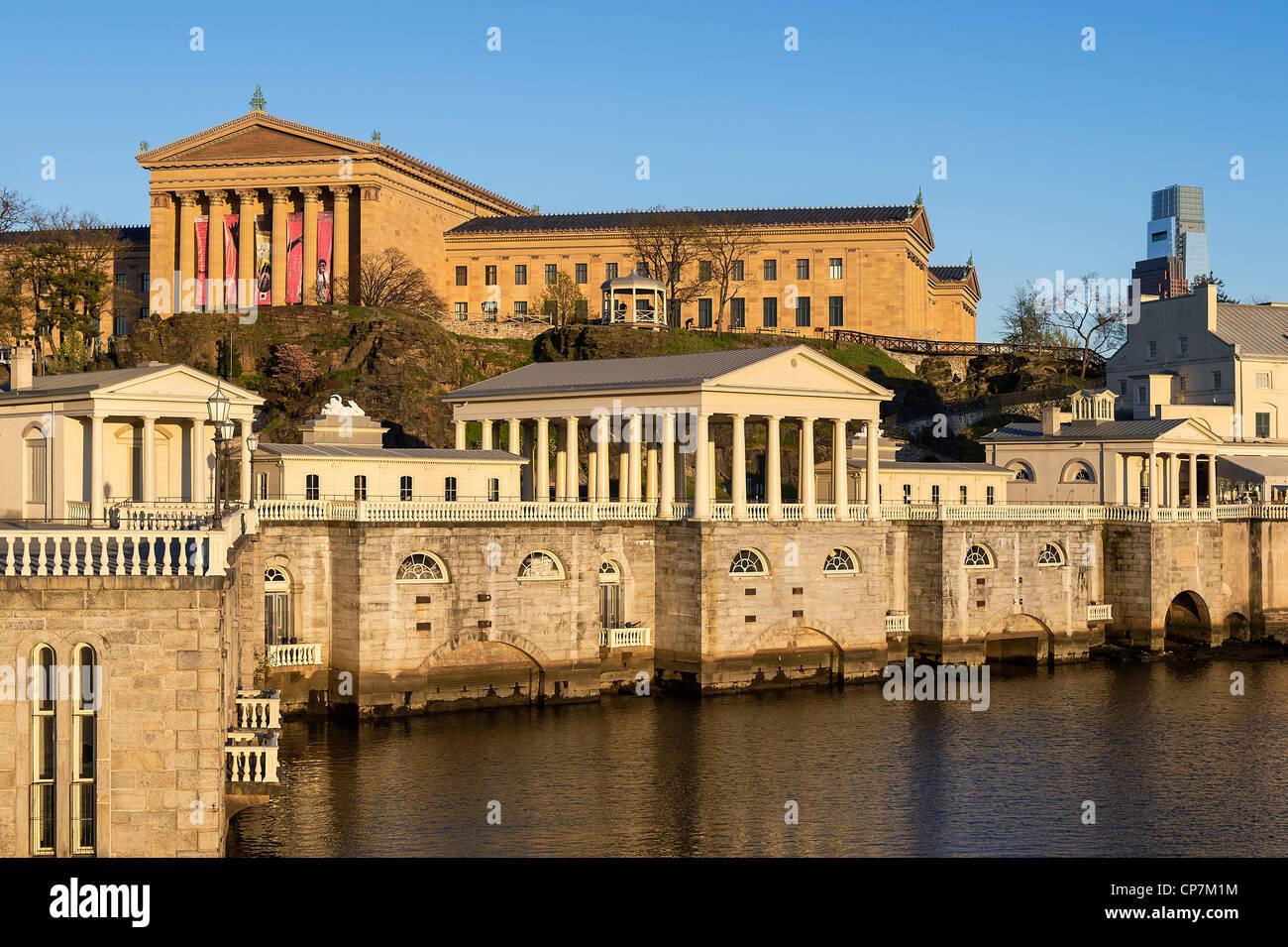 The Fairmount Water Works and art museum, Philadelphia, Pa, Pennsylvania, USA - Stock Image