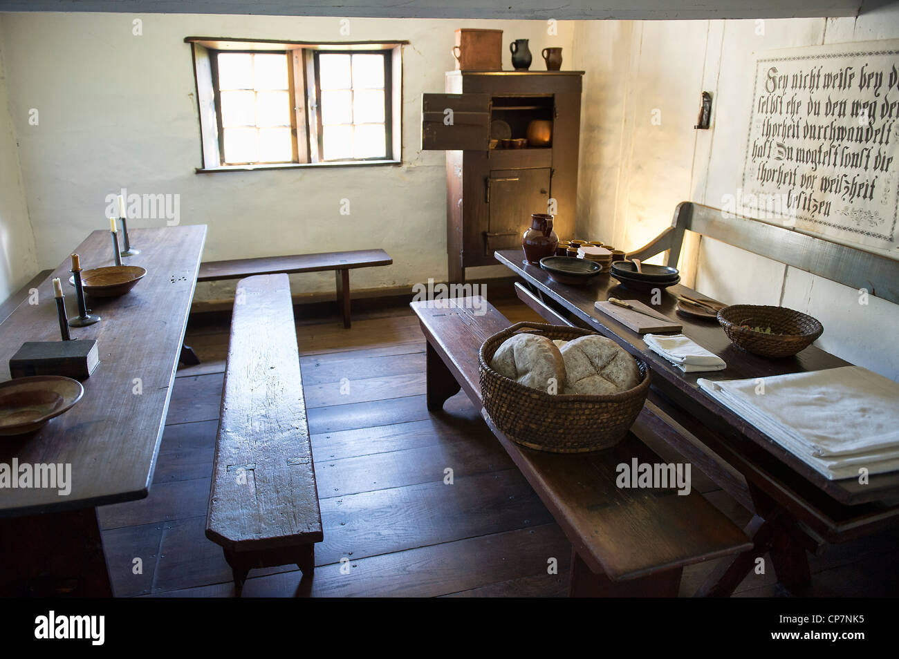 Communal dining room, Ephrata Cloister, Pennsylvania, USA - Stock Image