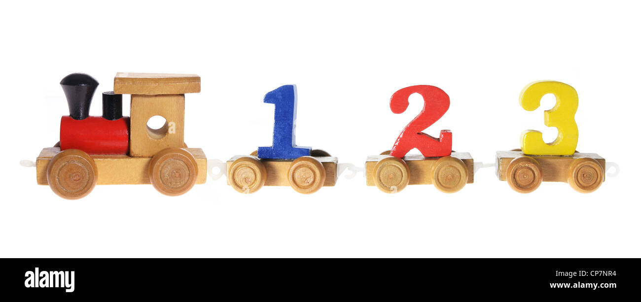 Wooden Train Carriages with Numbers Stock Photo