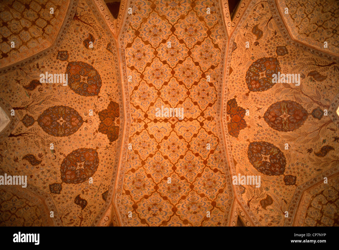 Iran, Esfahan, Isfahan, Ali Qapu Palace, interior, painted ceiling, Stock Photo