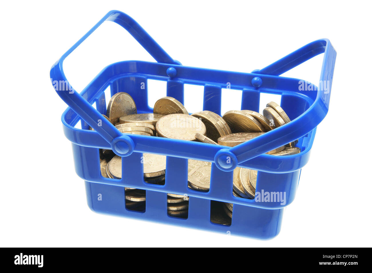 Basket of Coins Stock Photo