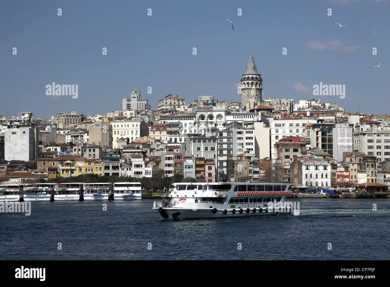 FERRY GALATA TOWER & BEYOGLU BEYOGLU ISTANBUL TURKEY 27 March 2012 - Stock Image