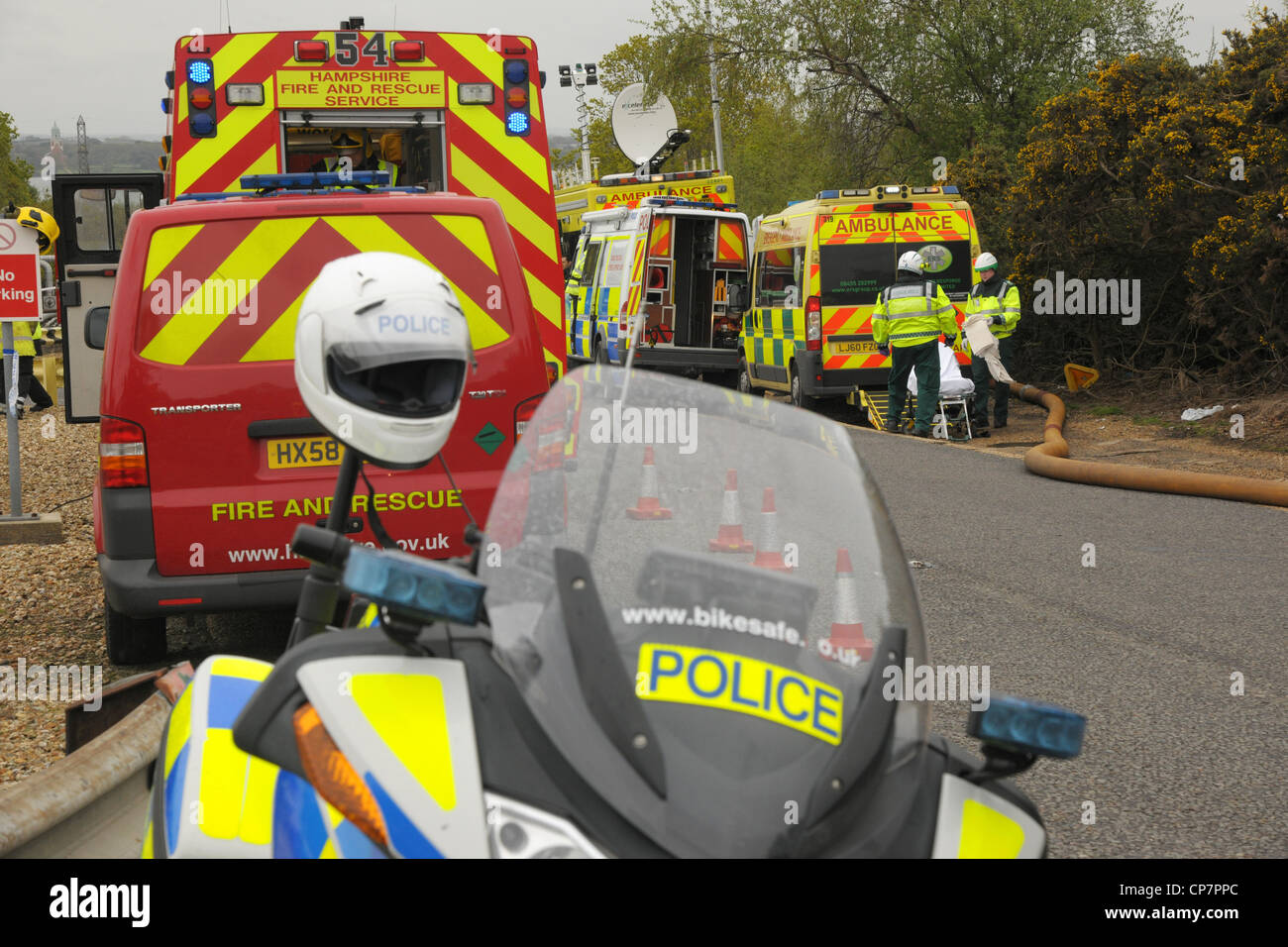 Emergency service vehicles at a major incident exercise - Stock Image
