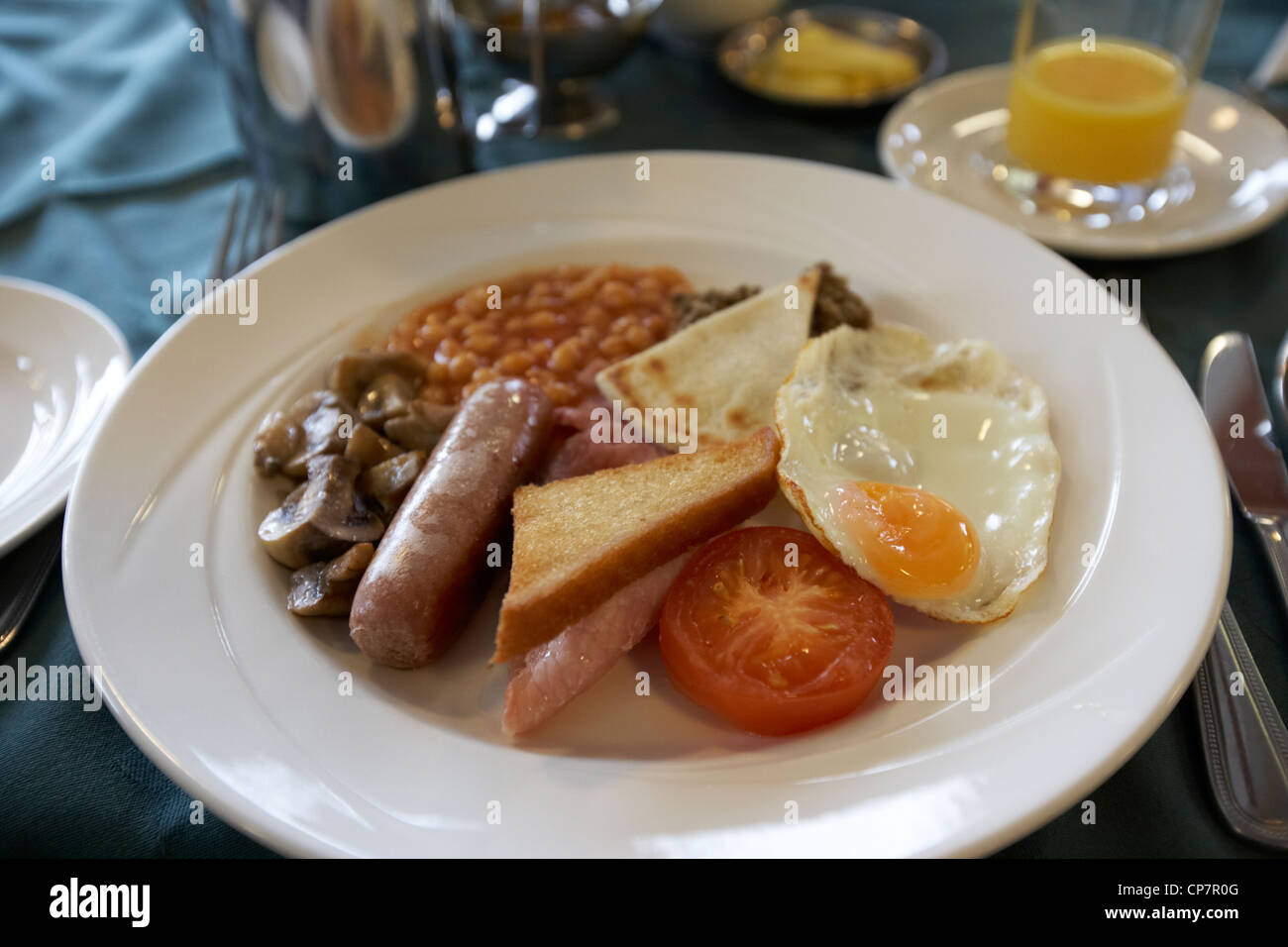 traditional scottish breakfast served in a hotel restaurant in Scotland UK Stock Photo