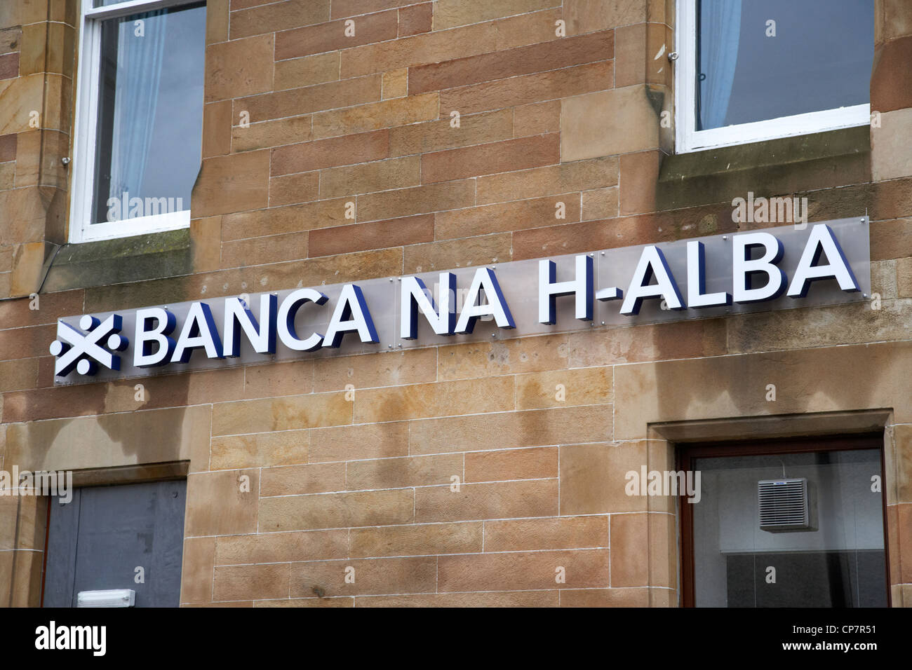 scots gaelic name of the bank of scotland branch in fort william Scotland UK - Stock Image