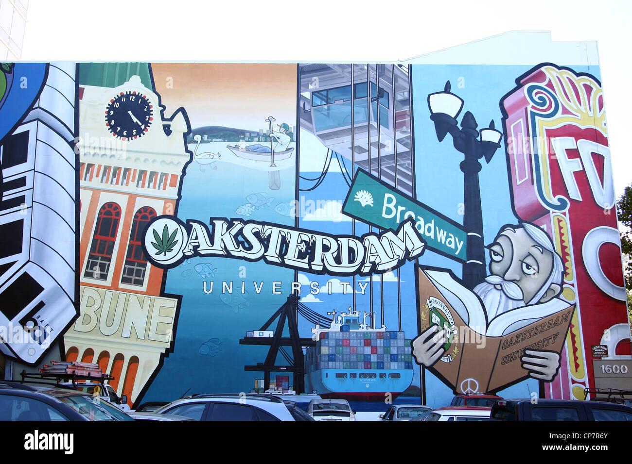 OAKSTERDAM UNIVERSITY CANNABIS UNIVERSITY MURAL 06 October 2011 - Stock Image