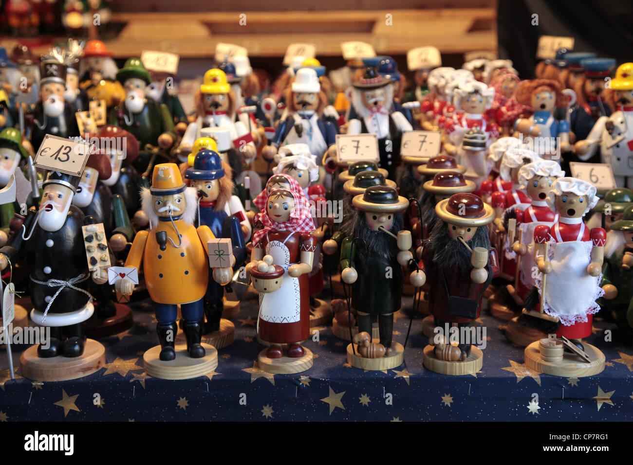 WOODEN CHRISTMAS ORNAMENTS SALZBURG AUSTRIA 27 December 2011 - Stock Image
