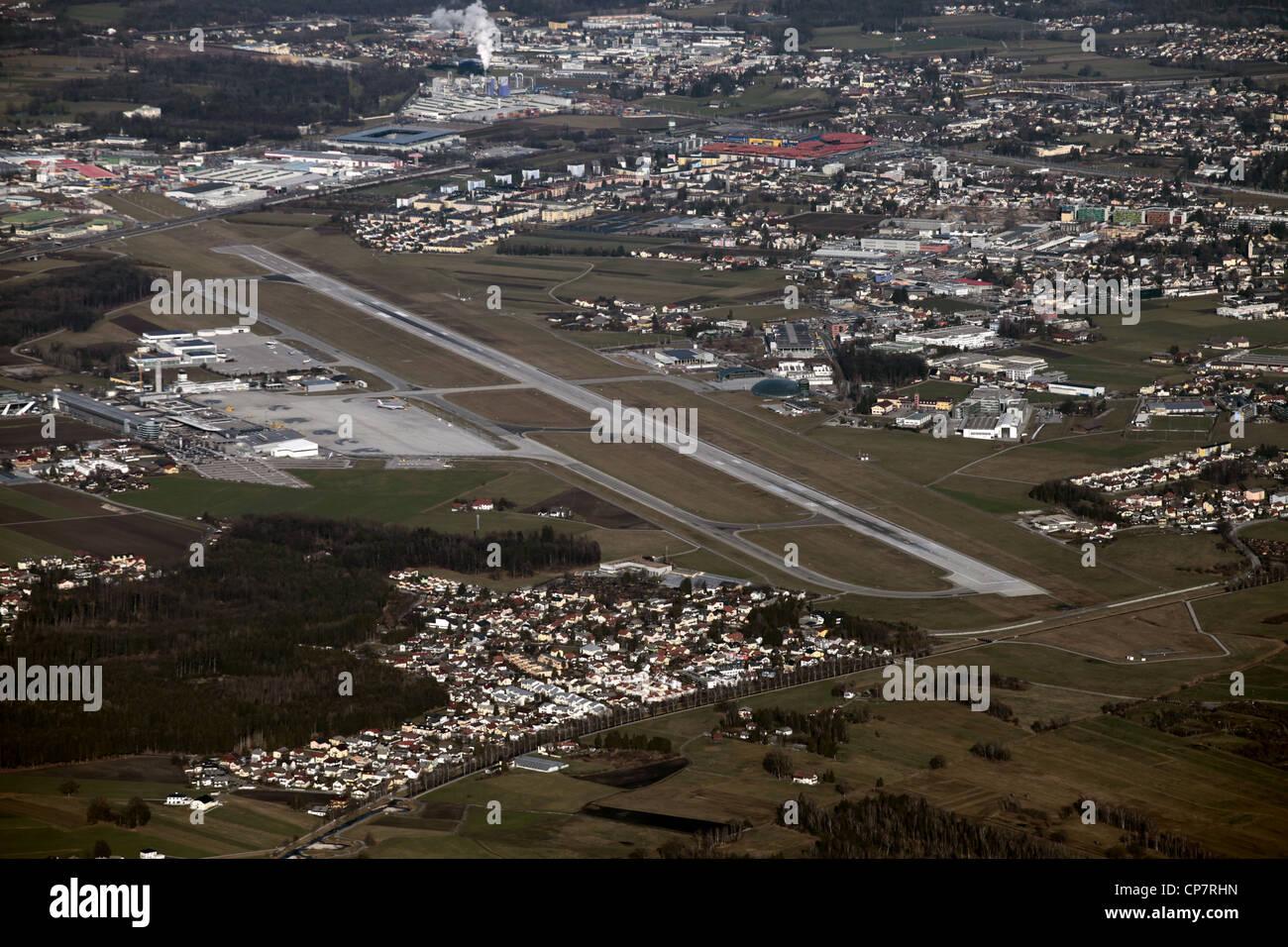 AIRPORT RUNWAY FROM UNTERSBERG MOUNT SALZBURG AUSTRIA 28 December 2011 - Stock Image