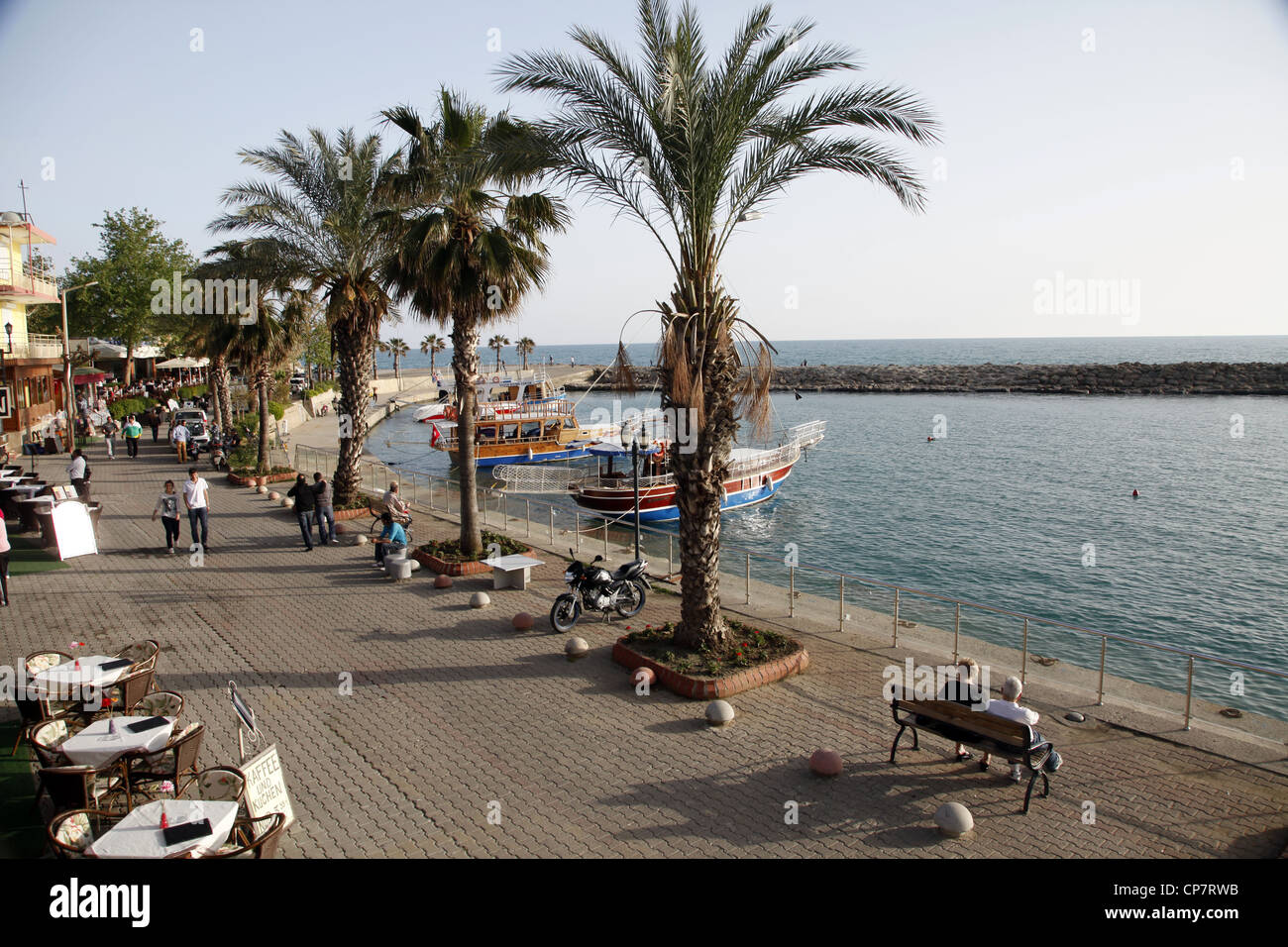 WATERFRONT & PALM TREES SIDE TURKEY 15 April 2012 - Stock Image