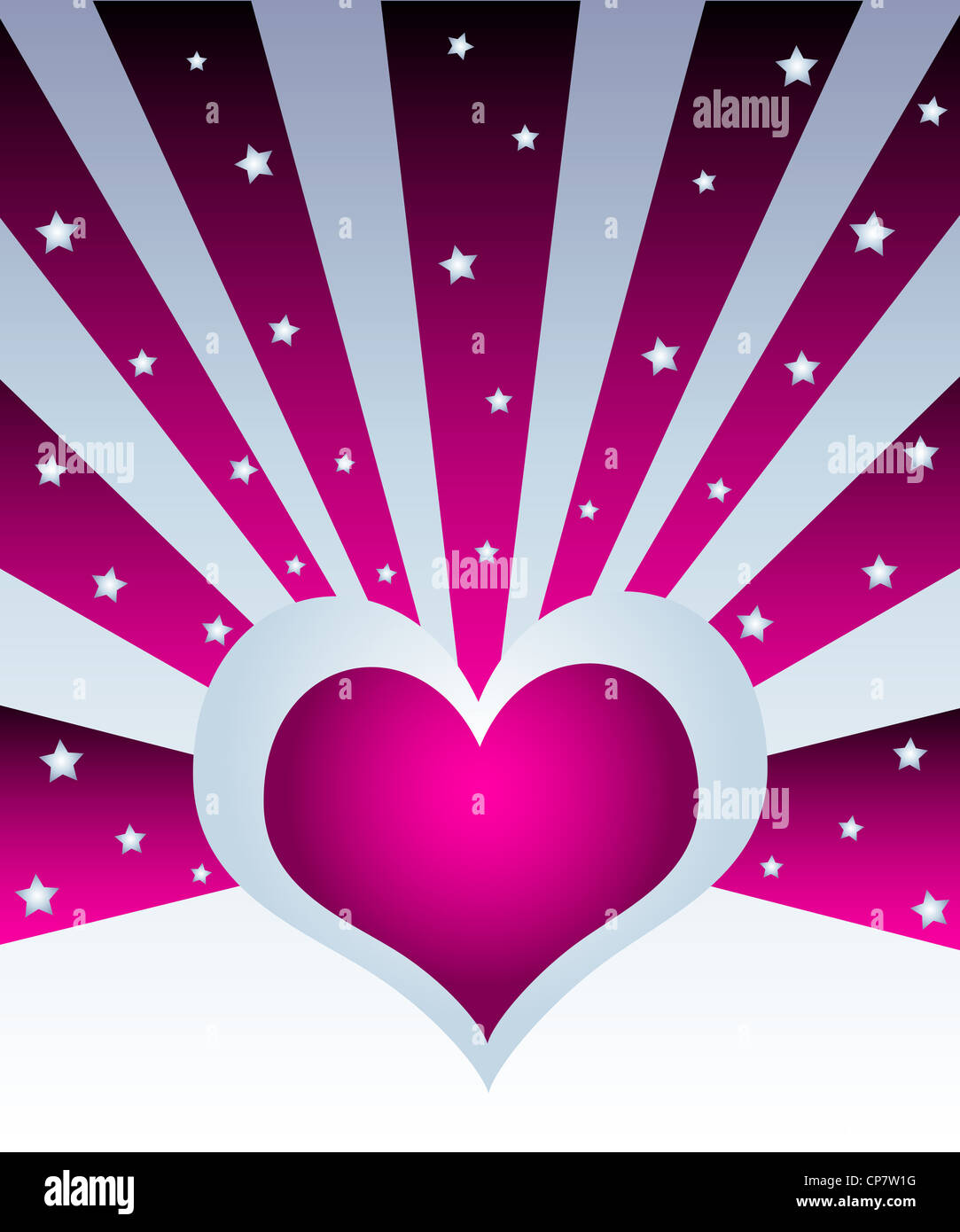 Heart with rays and stars celebration design Stock Photo