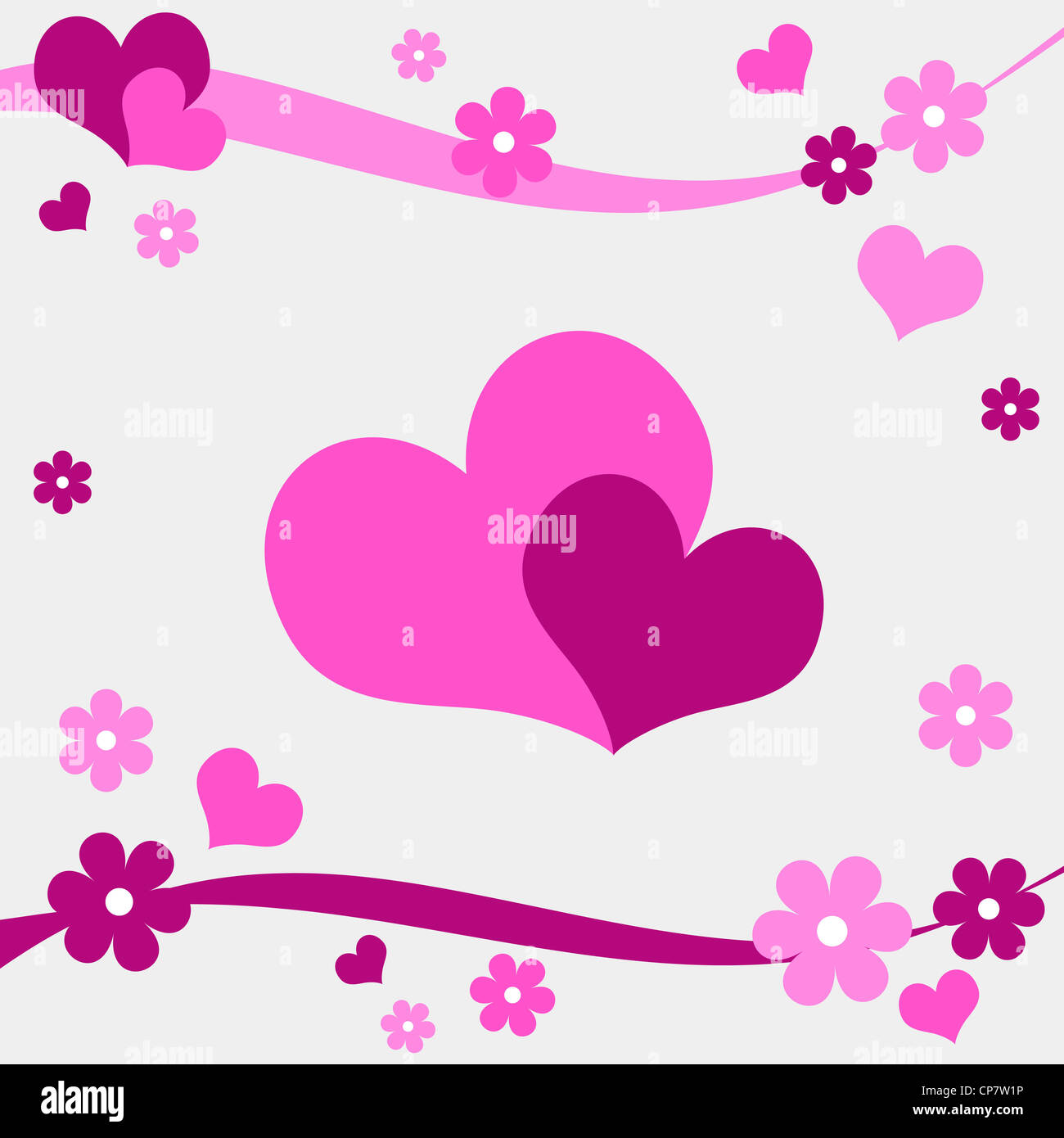 Hearts and flowers design in pink Stock Photo