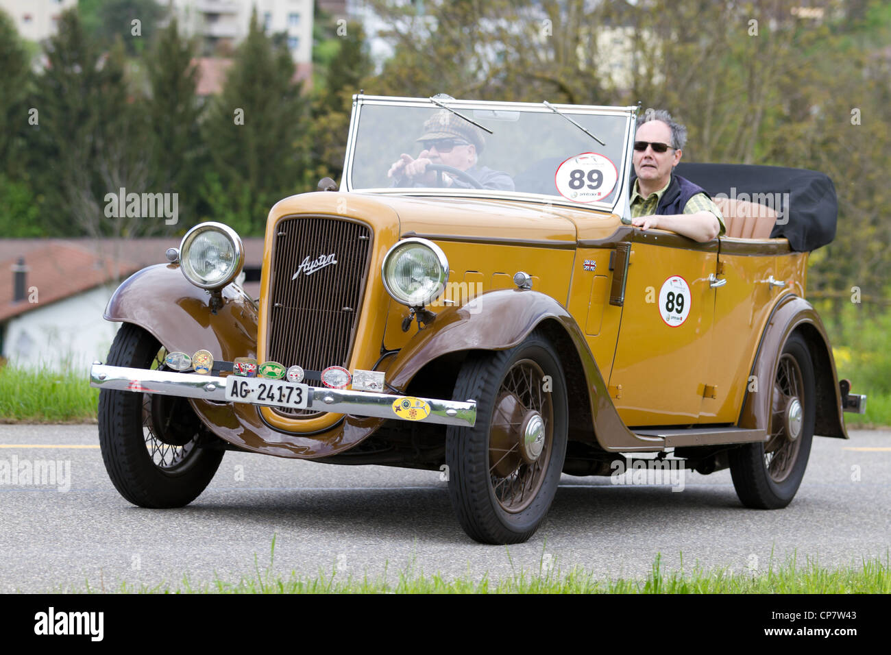 Vintage pre war race car Austin Tourer from 1936 at Grand Prix in Mutschellen, SUI on April 29, 2012. - Stock Image