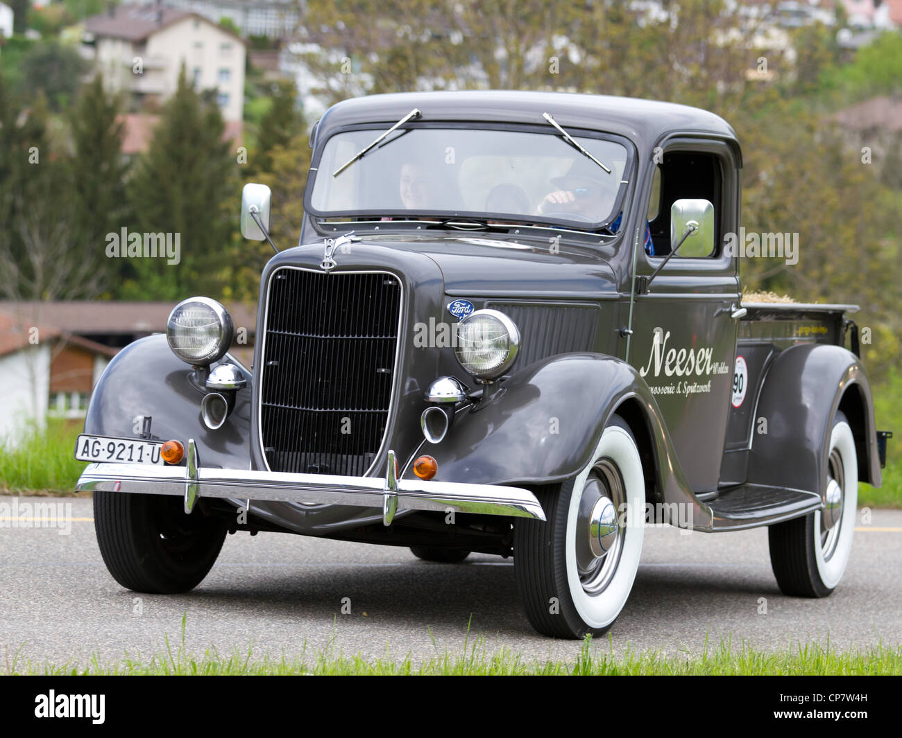 Vintage pre war car Ford Pick-up from 1936 at Grand Prix in Mutschellen, SUI on April 29, 2012. - Stock Image