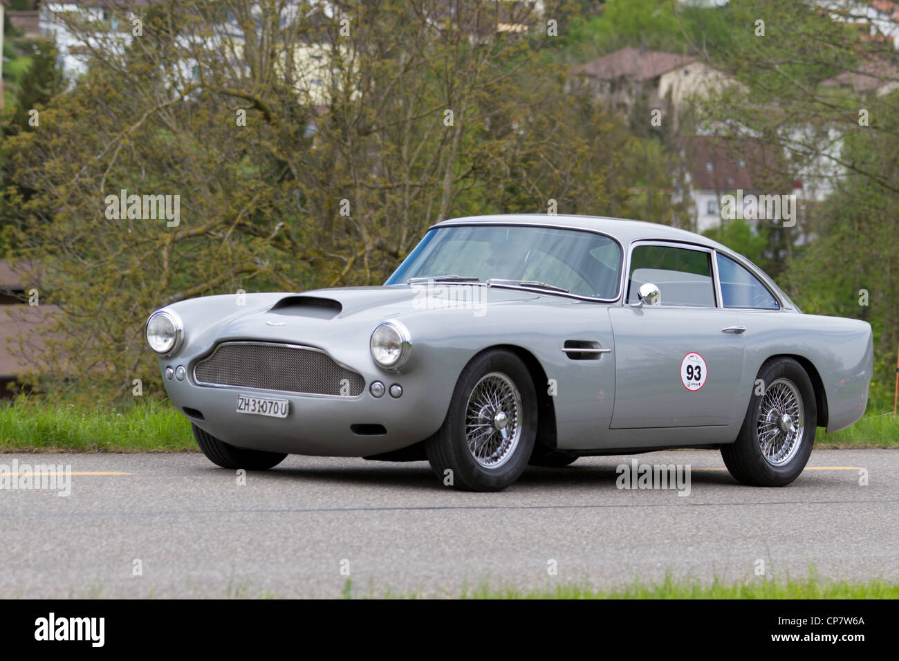 Vintage car Aston Martin at Grand Prix in Mutschellen, SUI on April 29, 2012. - Stock Image