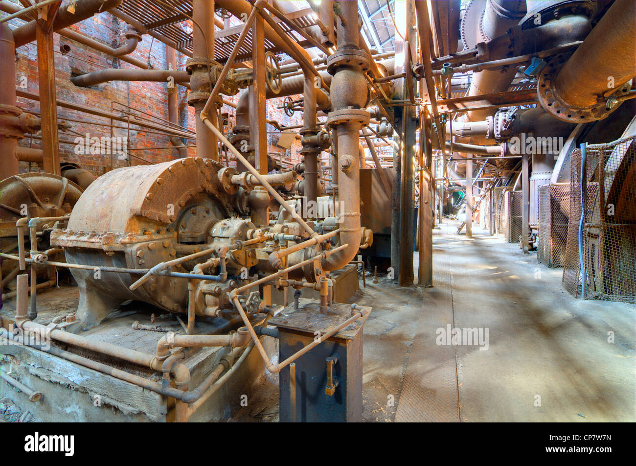 Old steel mill interior machinery - Stock Image
