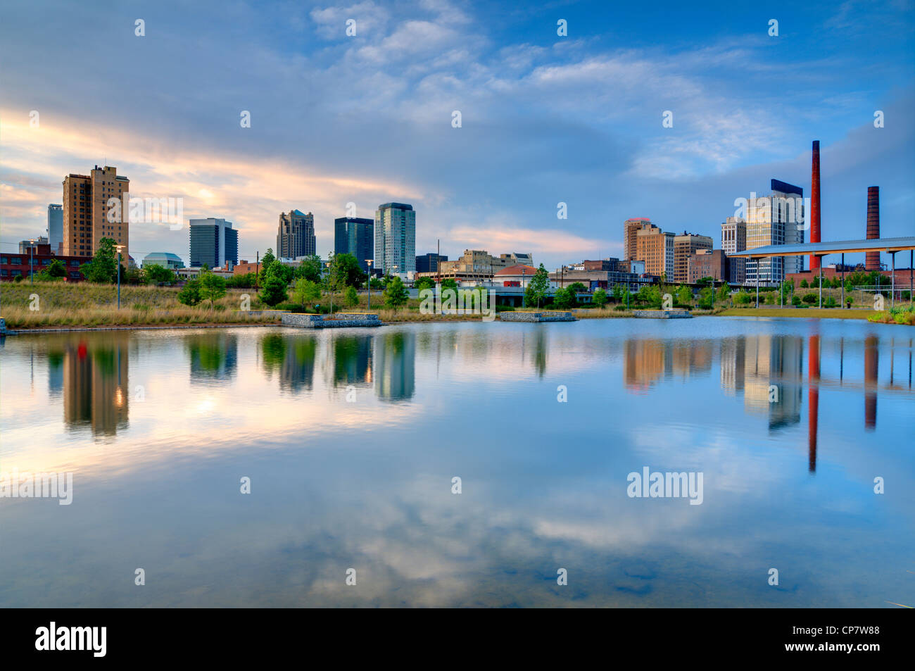 Buildings in downtown Birmingham, Alabama, USA as seen from Railroad Park. - Stock Image