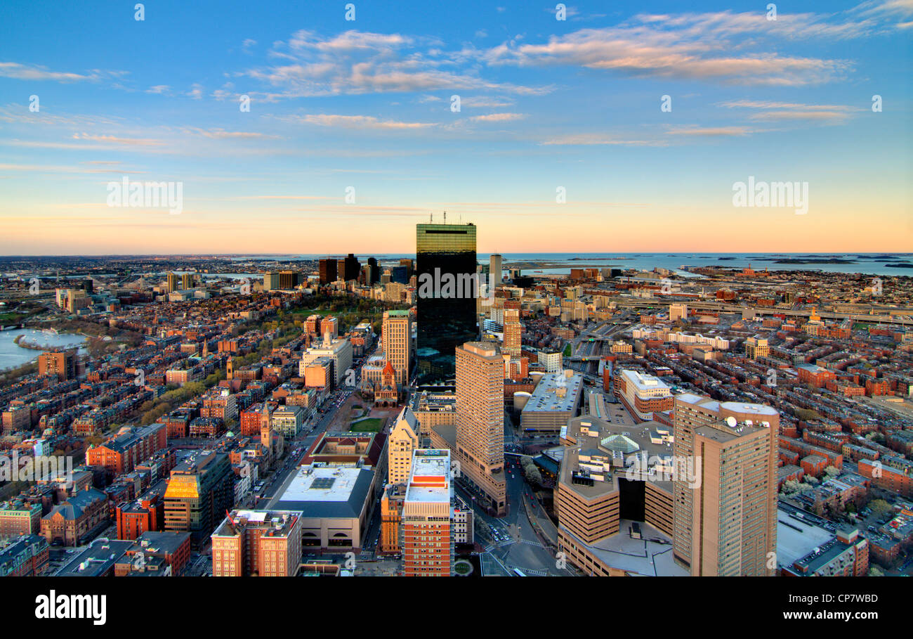 aerial view of downtown boston from back bay Stock Photo