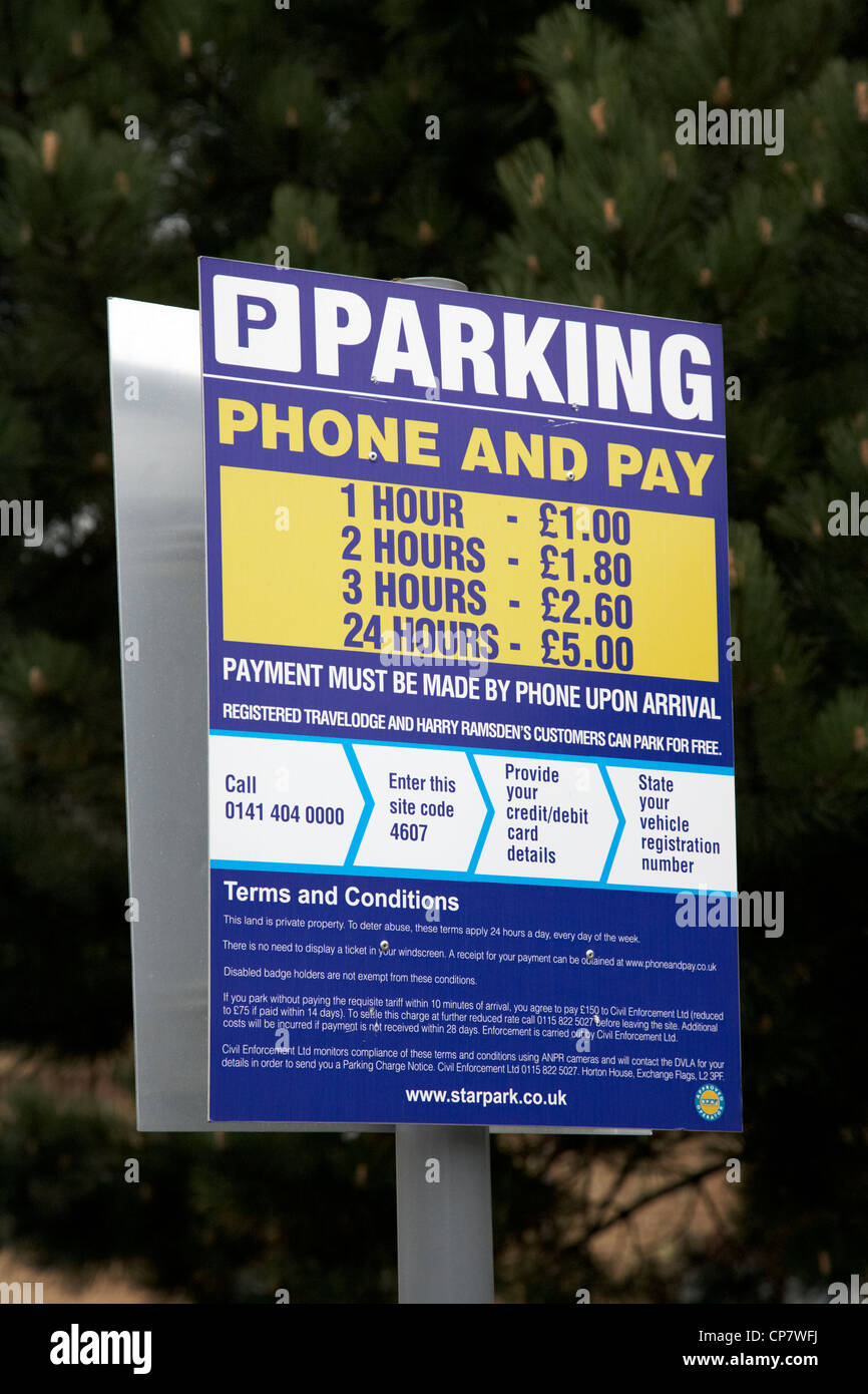 sign for parking phone and pay carpark in Scotland UK - Stock Image