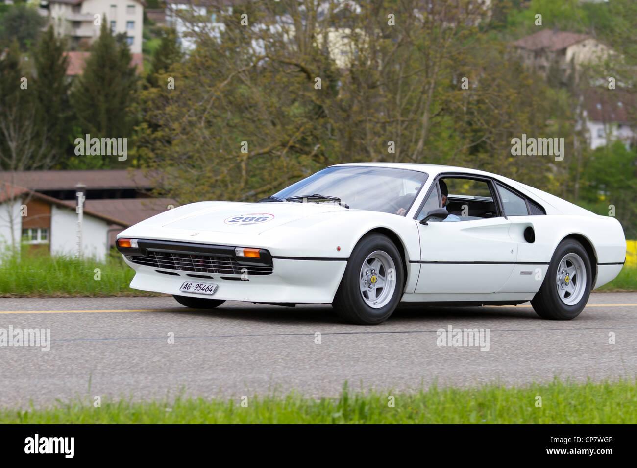 Vintage car Ferrari 308 GTB from 1977 at Grand Prix in Mutschellen, SUI on April 29, 2012. - Stock Image