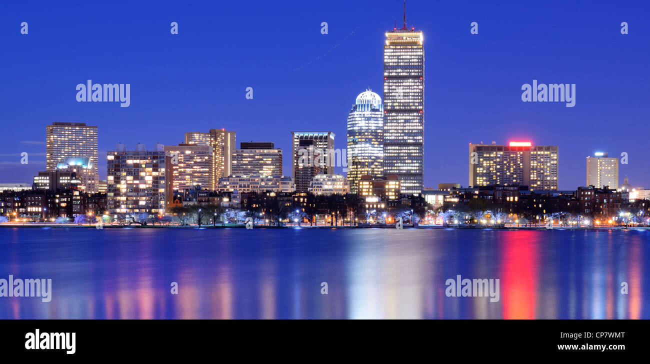 Skyline of landmark high rises in Back Bay, Boston, Massachusetts - Stock Image