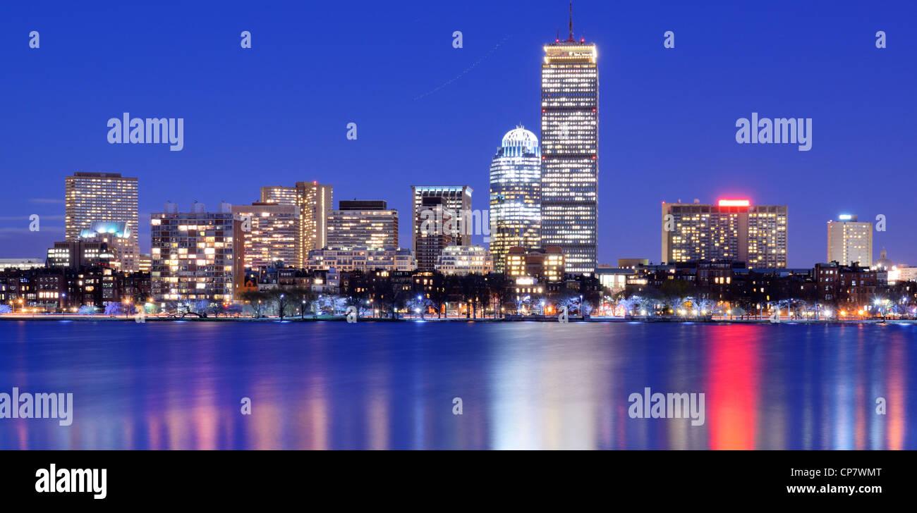 Skyline of landmark high rises in Back Bay, Boston, Massachusetts - Stock Image