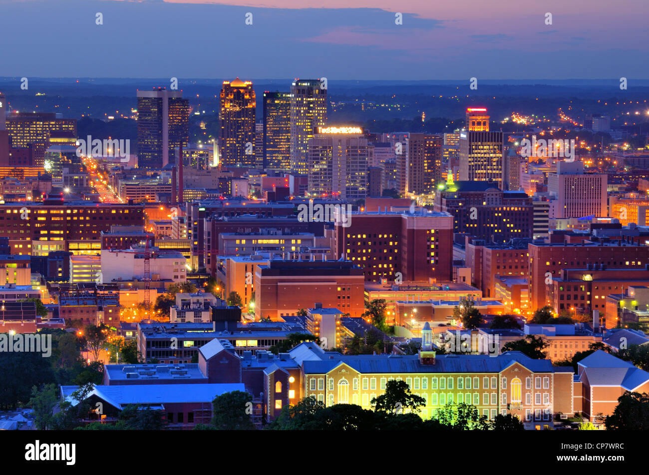 Downtown skyline of Birmingham, Alabama, USA at night. Stock Photo